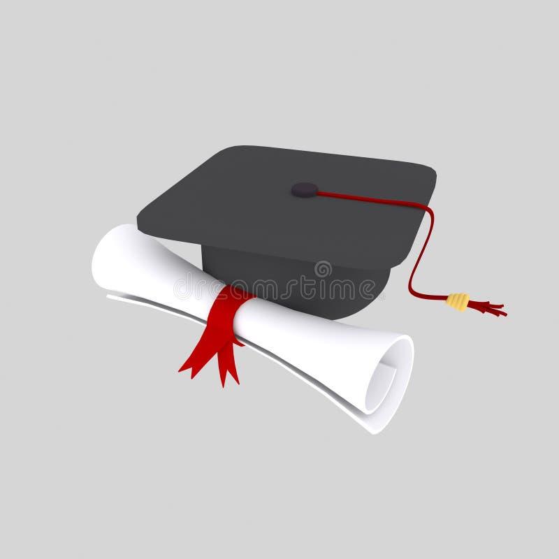 Doktorand- hatt- och diplompapper vektor illustrationer