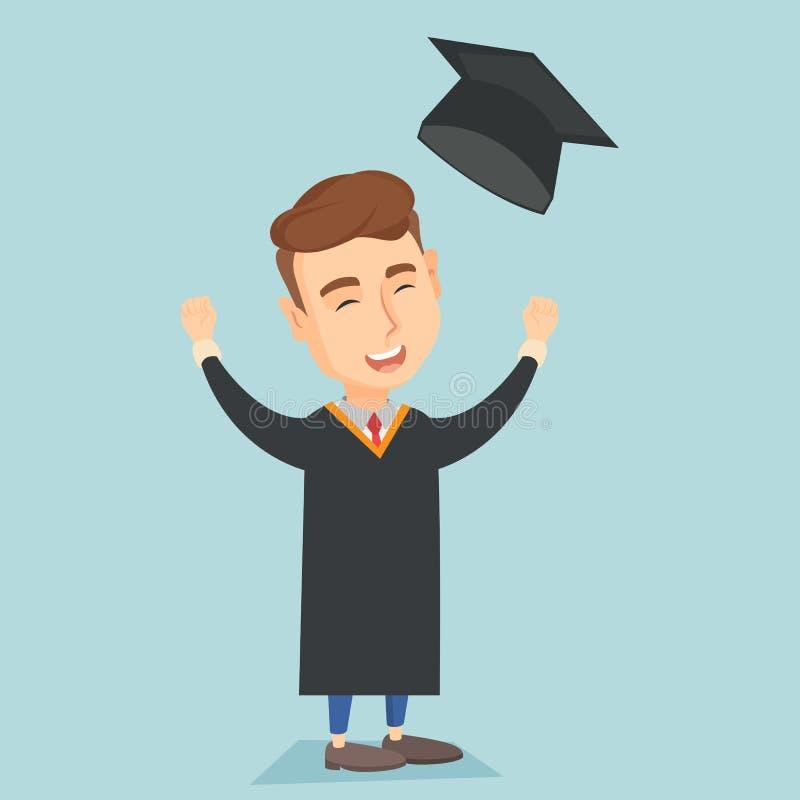 Doktorand- kasta upp avläggande av examenhatten stock illustrationer