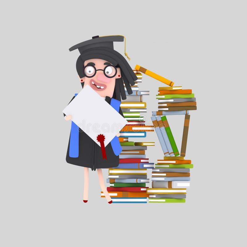 Doktorand- kvinna med diplompapper framme av bokberget vektor illustrationer