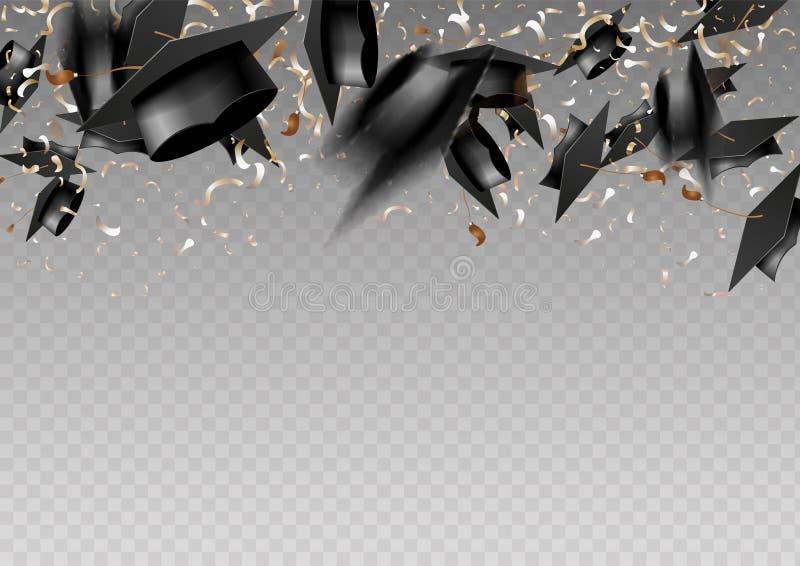 Doktorand- lock och konfettier p? en genomskinlig bakgrund Lock som kastas upp Inbjudankort med diplom royaltyfri illustrationer