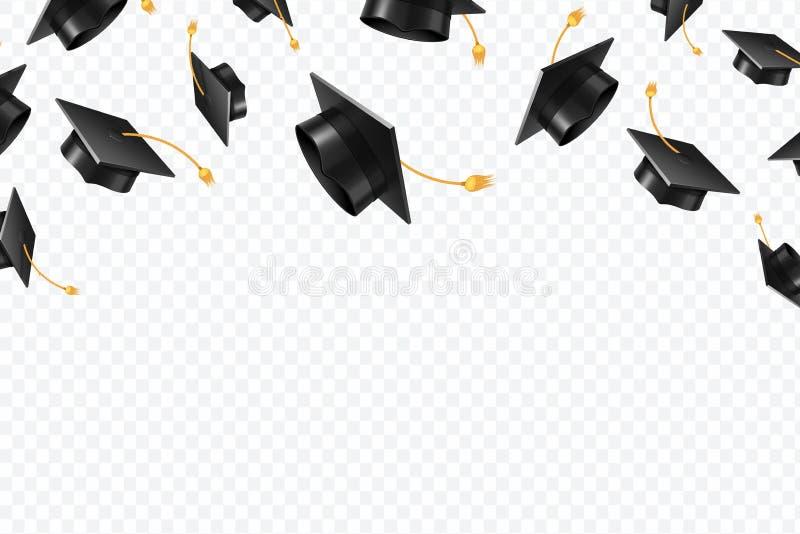 Doktorand- lockflyg Svarta akademiska hattar i luft Utbildning isolerat vektorbegrepp stock illustrationer