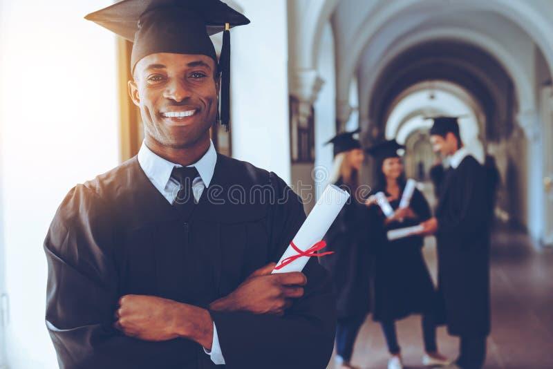 doktorand- lyckligt royaltyfria bilder