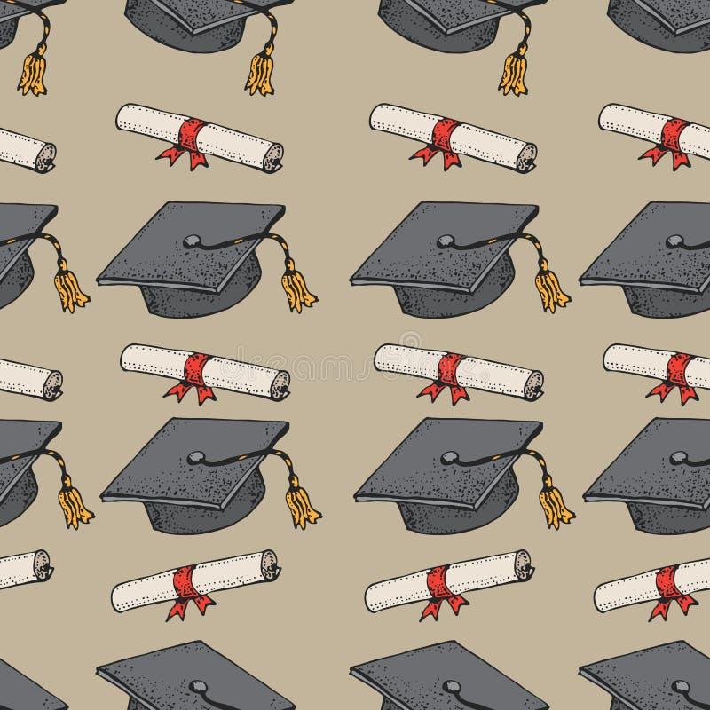 Doktorand- modell för svart hatt för klotter sömlös med diplomet, avläggande av examenlock, fyrkantigt akademiskt lock, akademike vektor illustrationer