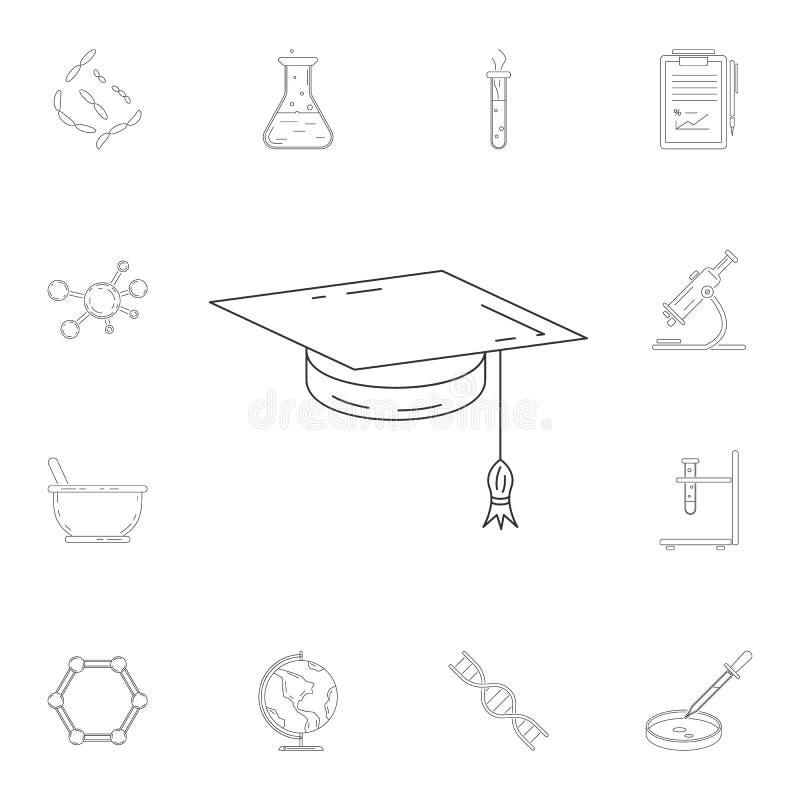 doktorand- \ 's-locksymbol Detaljerad uppsättning av vetenskaps- och labbillustrationer Högvärdig kvalitets- symbol för grafisk d vektor illustrationer