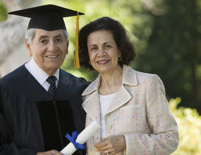 doktorand- utvändig hög fru royaltyfria bilder