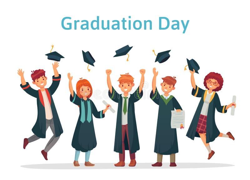 Doktorander Avläggande av examendag av universitetsstudenten, framgångexamen och högskolagruppen som upp kastar den akademiska lo stock illustrationer