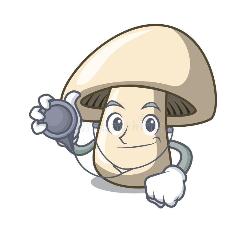 Doktorchampignonpilz-Charakterkarikatur stock abbildung
