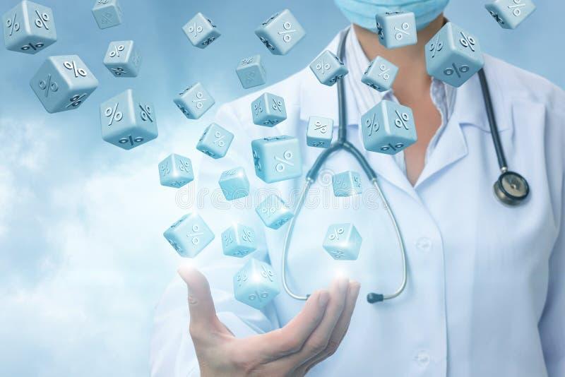 Doktordarstellen Prozentsätze Rabatte stockfotos