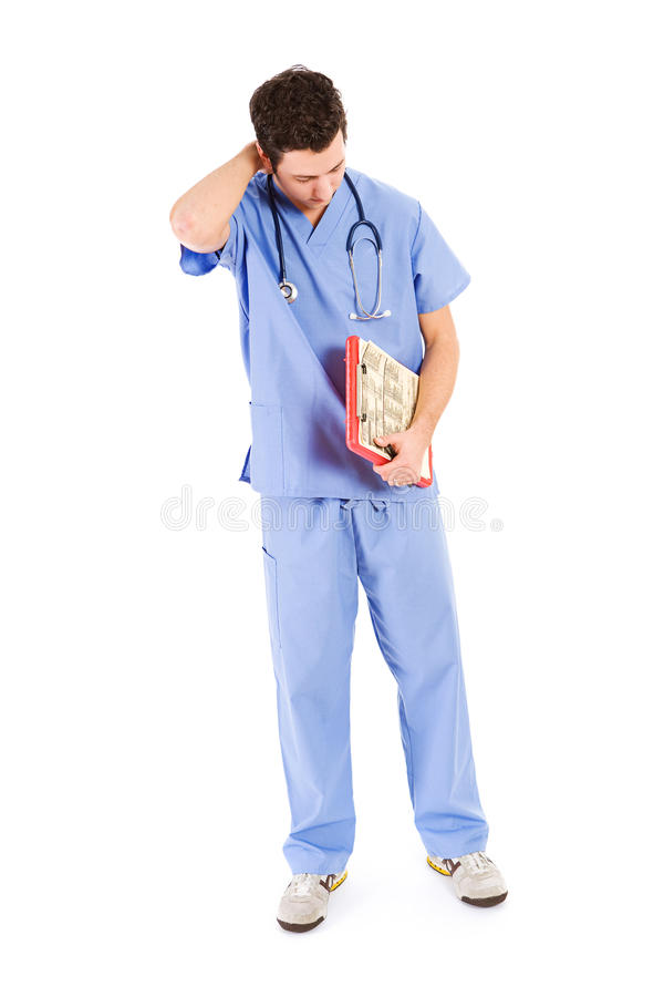 Doktoren: Männliche Krankenschwester Feeling Tired lizenzfreie stockfotografie
