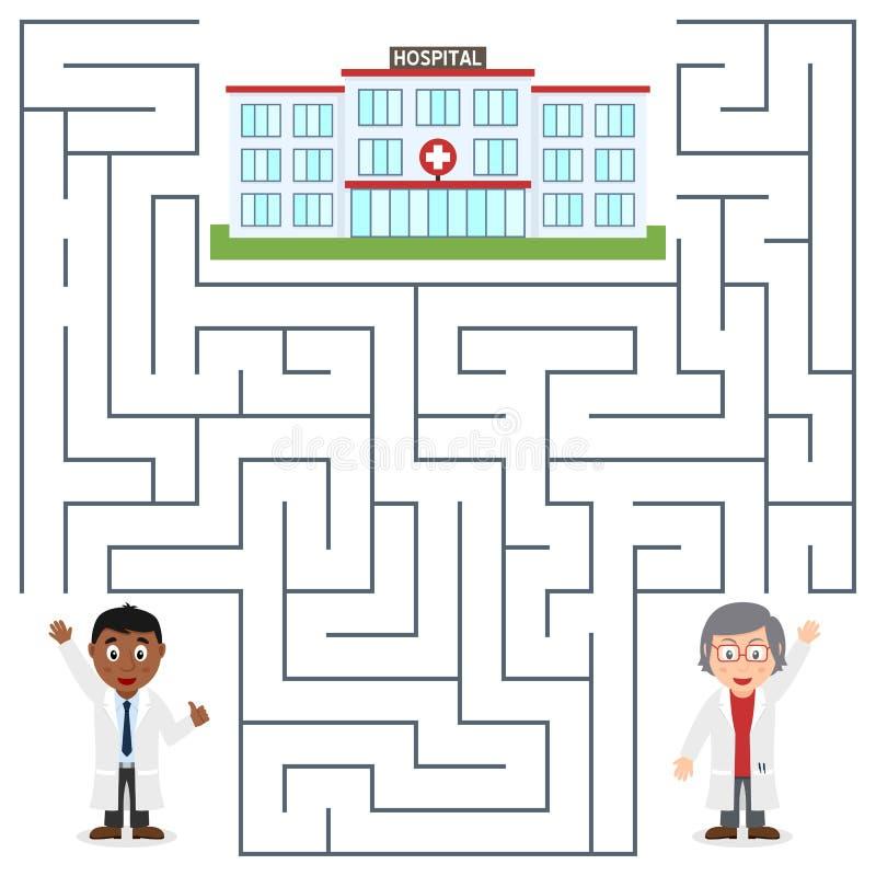 Doktoren und Krankenhaus-Labyrinth für Kinder lizenzfreie abbildung
