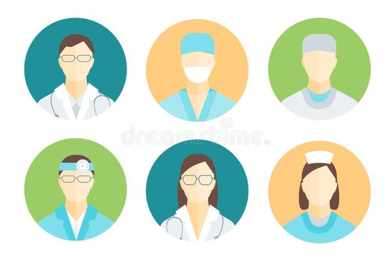 Doktoren und medizinisches Personal im Kreis-Satz Vektor stock abbildung