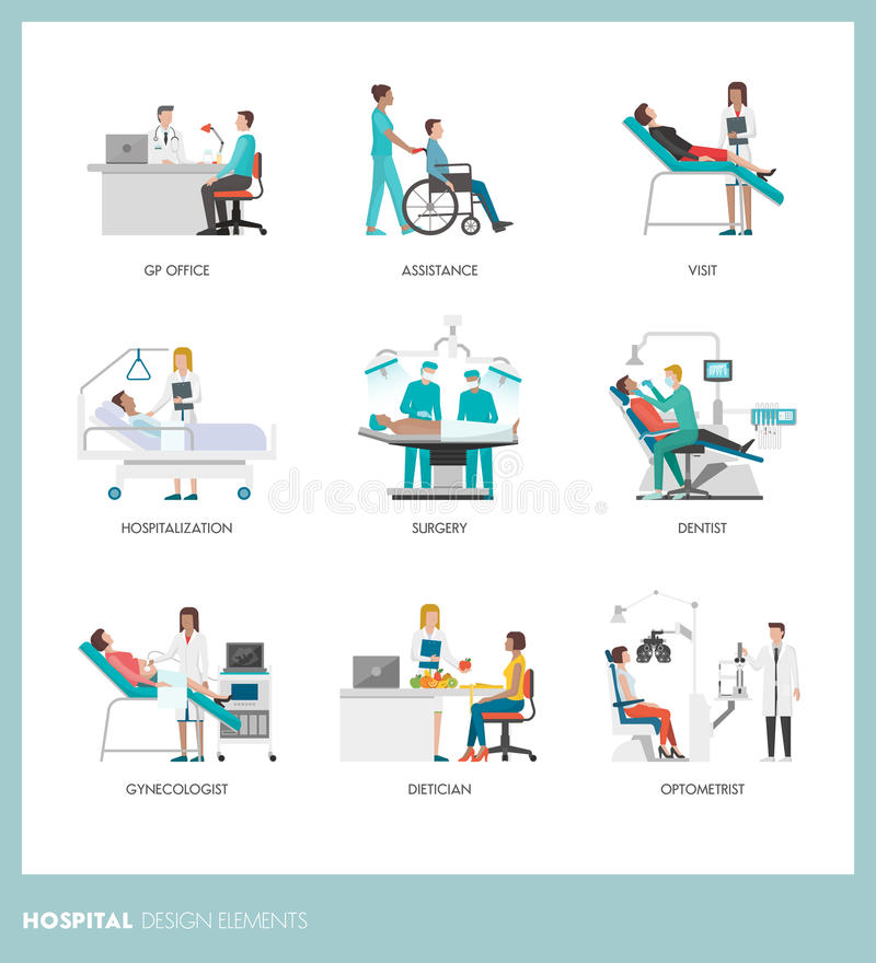 Doktoren und Patienten lizenzfreie abbildung