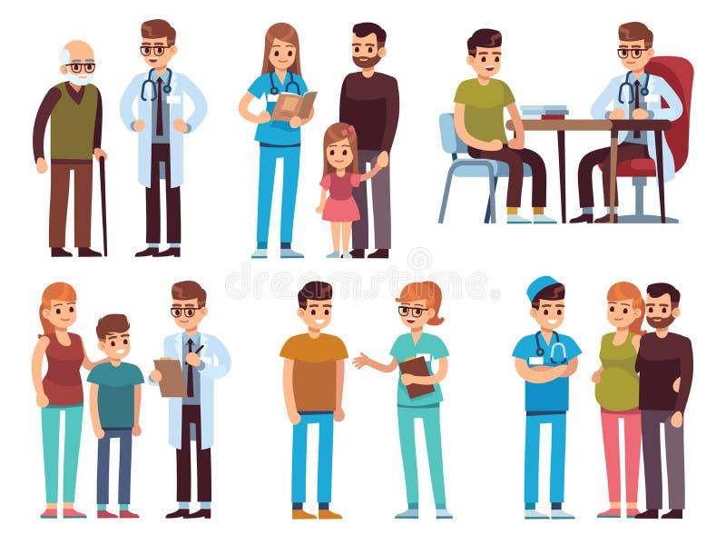 Doktoren und Patienten Klinikdoktor-Krankenschwester der Medizinbüropersonalkrankenhausdiagnosenbehandlung Berufshilfe geduldiger lizenzfreie abbildung