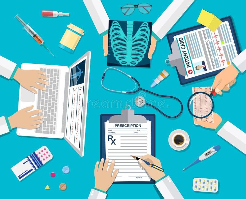Doktorer för medicinskt lag på skrivbordet royaltyfri illustrationer