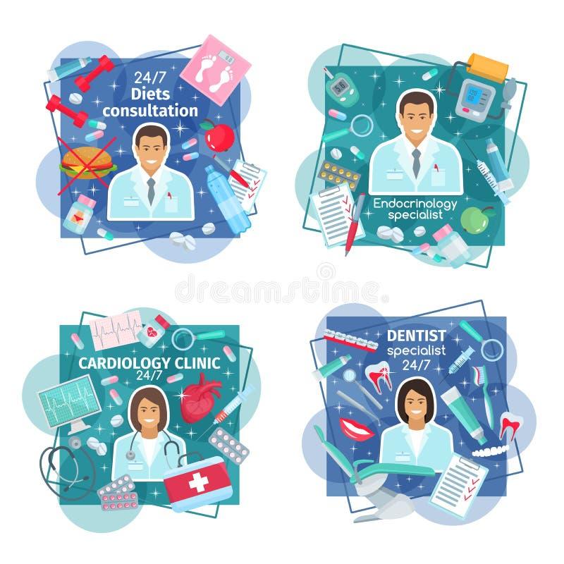 Doktorer med hjälpmedel, preventivpillerar och mänskliga organ stock illustrationer