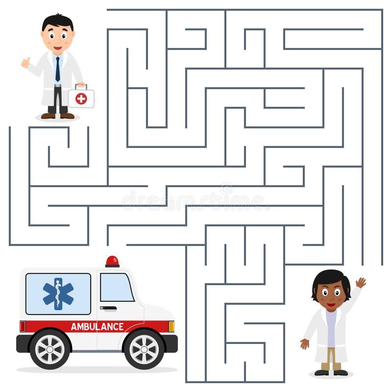 Doktorer och ambulanslabyrint för ungar vektor illustrationer