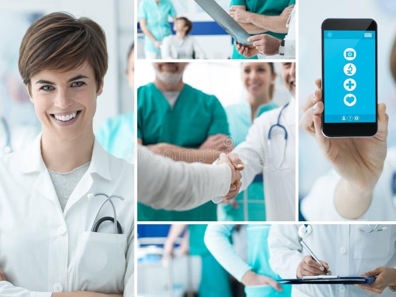 Doktorer och medicinsk app-fotocollage royaltyfria foton