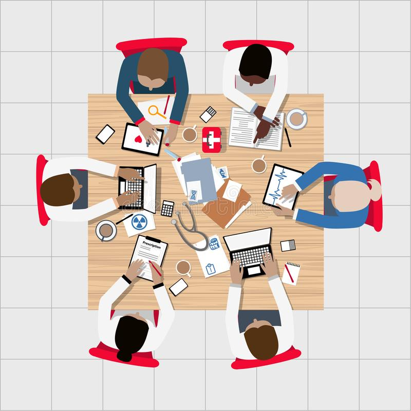 Doktorer och medicinska professionell som möter runt om styrelsetabellen vektor illustrationer