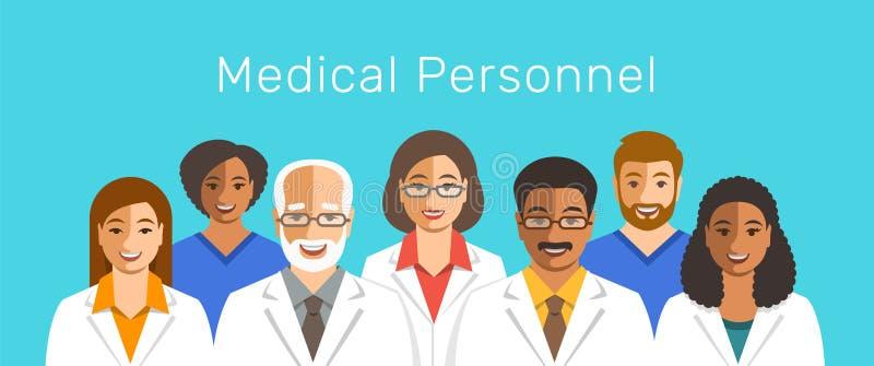 Doktorer och sjuksköterskalag som ler framsidor stock illustrationer