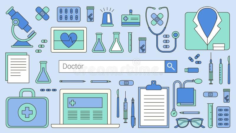 Doktorer och sjukvård stock illustrationer