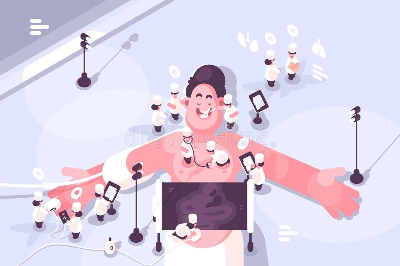Doktorer som behandlar olika sjukdomar av patienten stock illustrationer