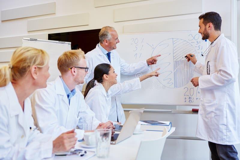 Doktorer som framlägger med grafen arkivbilder