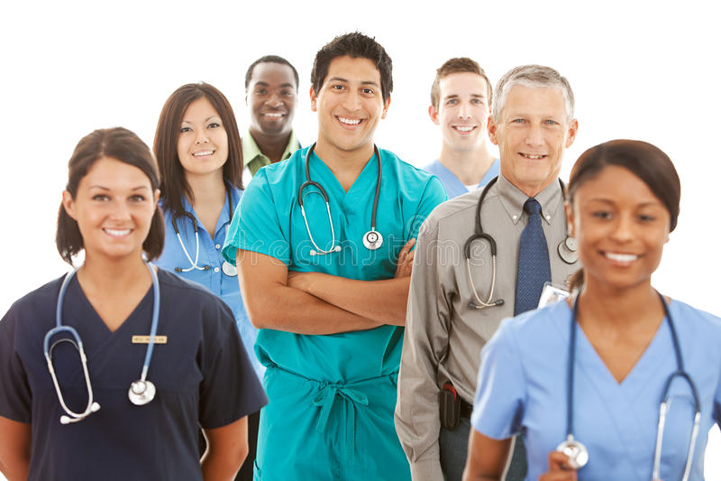 Doktorer: Stor grupp av doktorer och sjuksköterskor royaltyfri fotografi