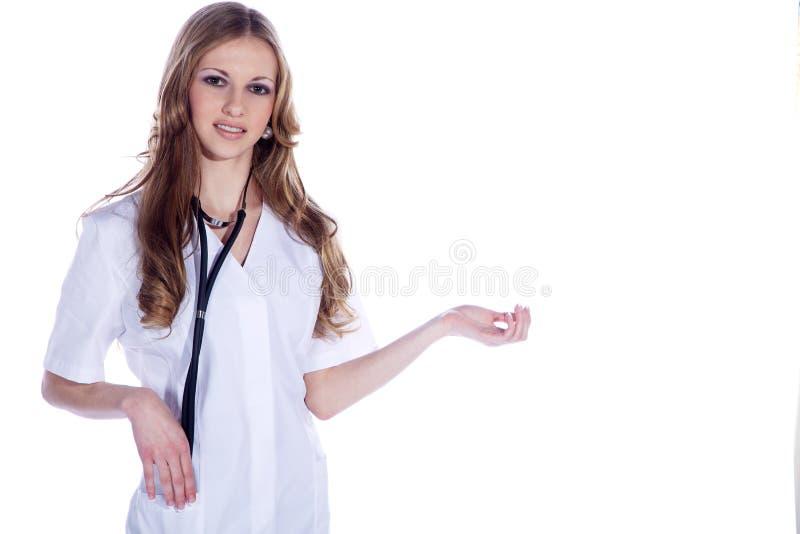 Doktorfrau im Gruß lizenzfreie stockbilder