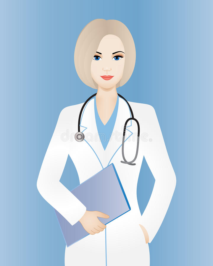 Doktorfrau mit Klemmbrett stock abbildung