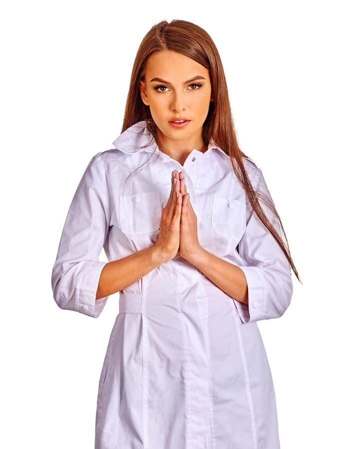 Doktorhände gefaltet im Gebet stockfotografie
