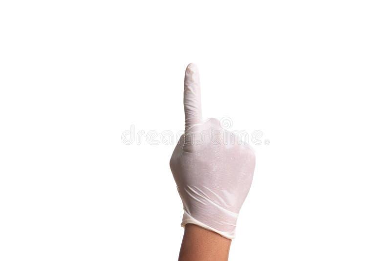 Doktorhand in den sterilen Handschuhen des weißen Latex lokalisiert auf Weiß stockfoto