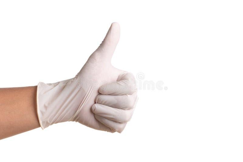 Doktorhand in den sterilen Handschuhen des weißen Latex lokalisiert auf Weiß stockfotografie