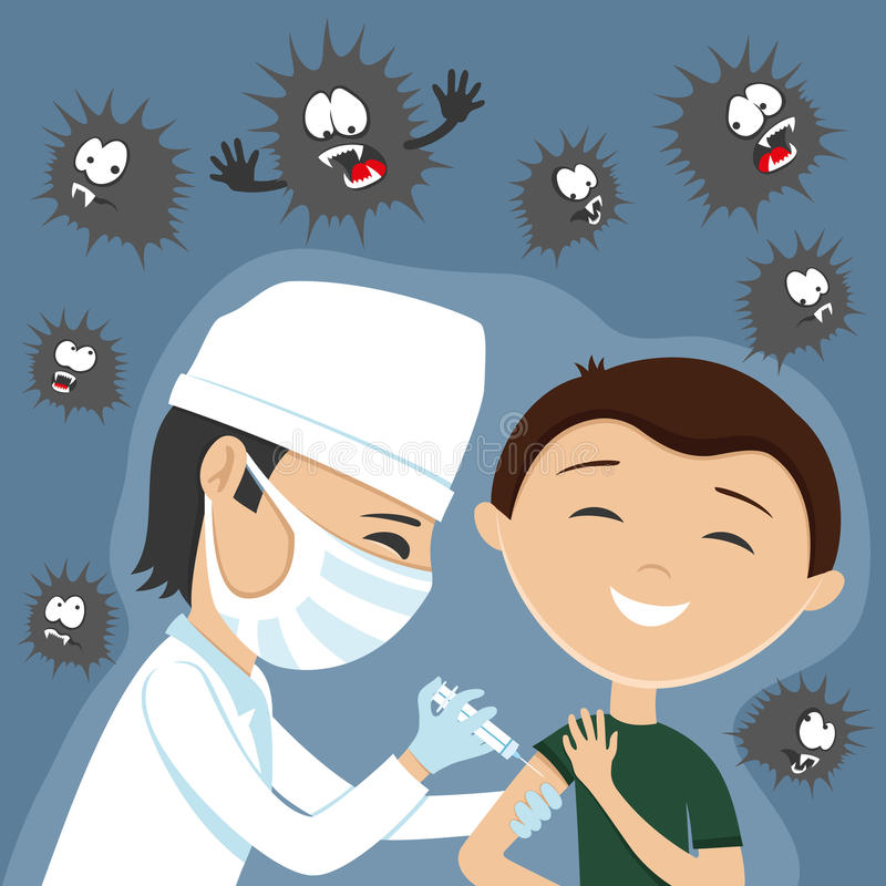 Doktorn gör vaccinering vektor illustrationer