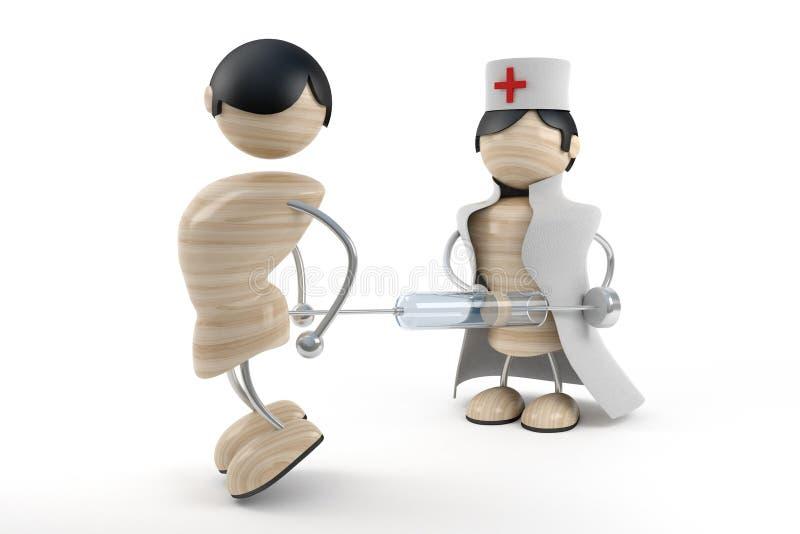 doktorn ger injektionen stock illustrationer