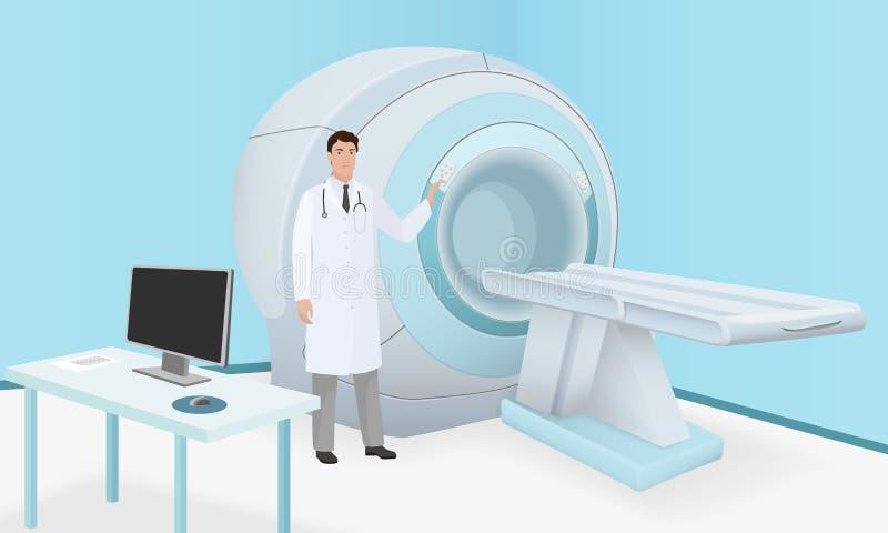 Doktorn inviterar patienten att förkroppsliga hjärnbildläsning av MRI-maskinen royaltyfri illustrationer