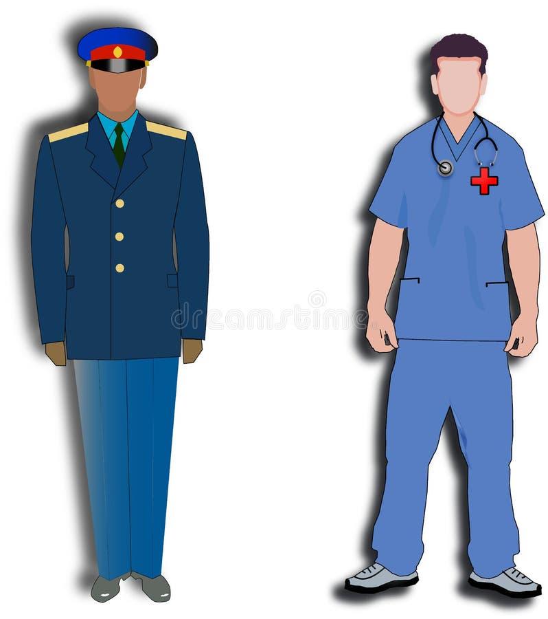 Doktorn och polisen vektor illustrationer