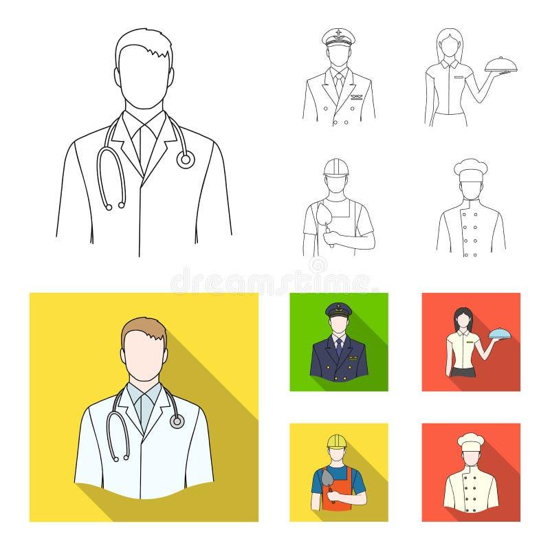 Doktorn, piloten, servitrins, byggmästaren, muraren Fastställda samlingssymboler för yrke i översikten, lägenhetstilvektor vektor illustrationer