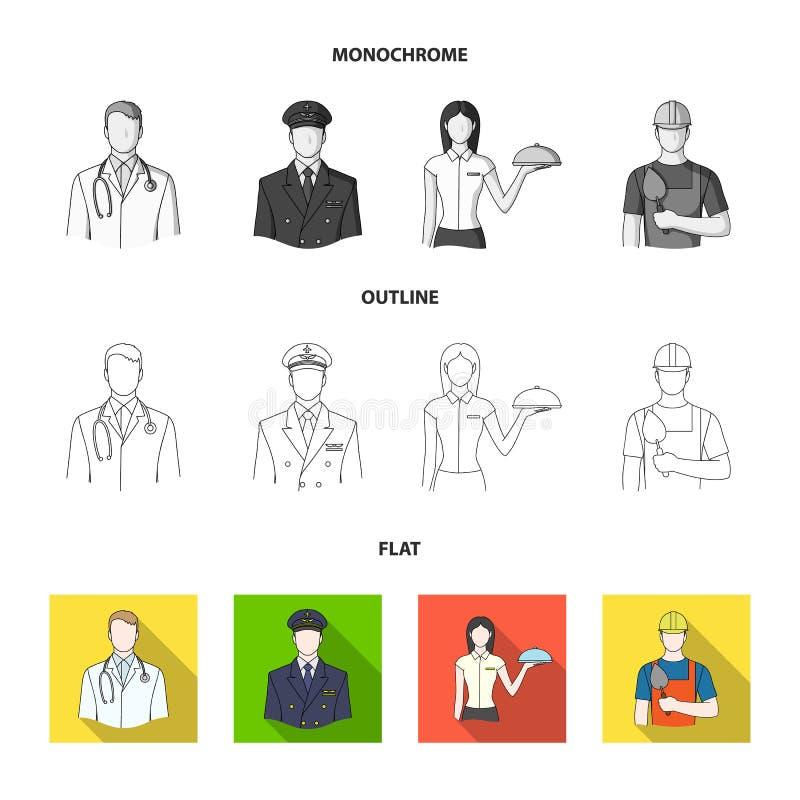 Doktorn, piloten, servitrins, byggmästaren, muraren Fastställda samlingssymboler för yrke i lägenheten, översikt, monokrom vektor illustrationer