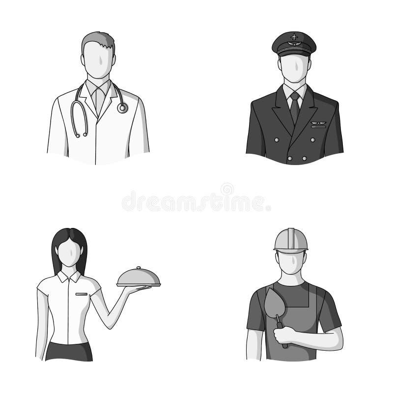 Doktorn, piloten, servitrins, byggmästaren, muraren Fastställda samlingssymboler för yrke i monokrom stilvektor vektor illustrationer