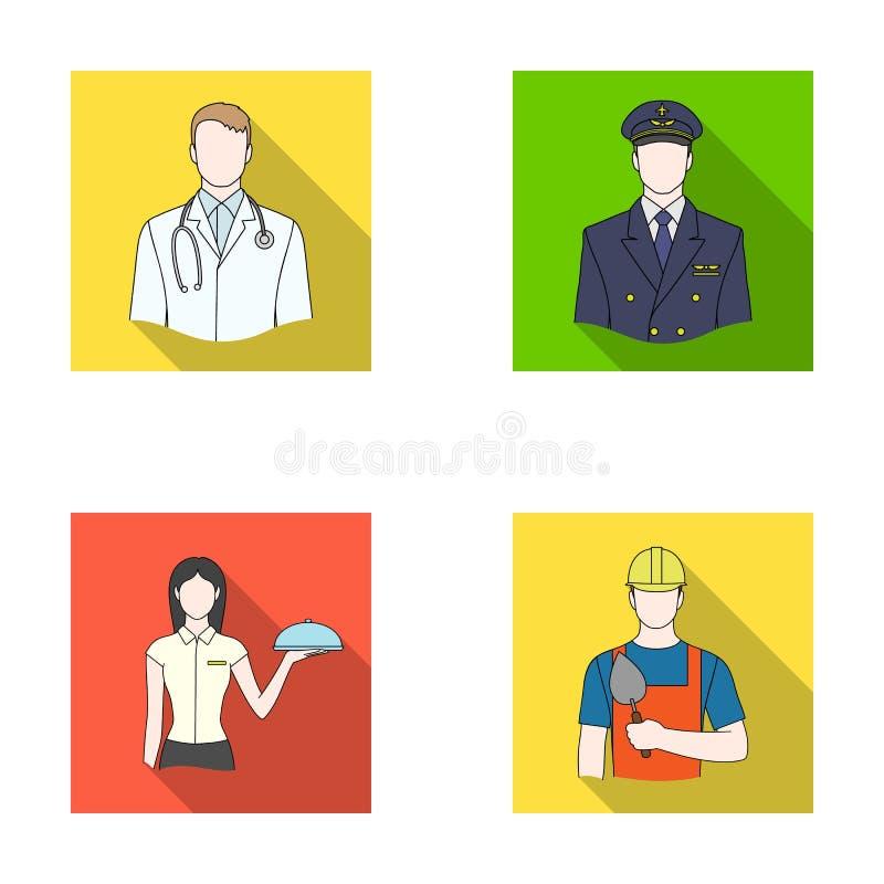 Doktorn, piloten, servitrins, byggmästaren, muraren Fastställda samlingssymboler för yrke i plant stilvektorsymbol stock illustrationer