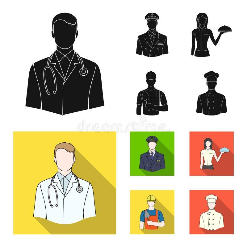 Doktorn, piloten, servitrins, byggmästaren, muraren Fastställda samlingssymboler för yrke i svart, lägenhetstilvektor stock illustrationer