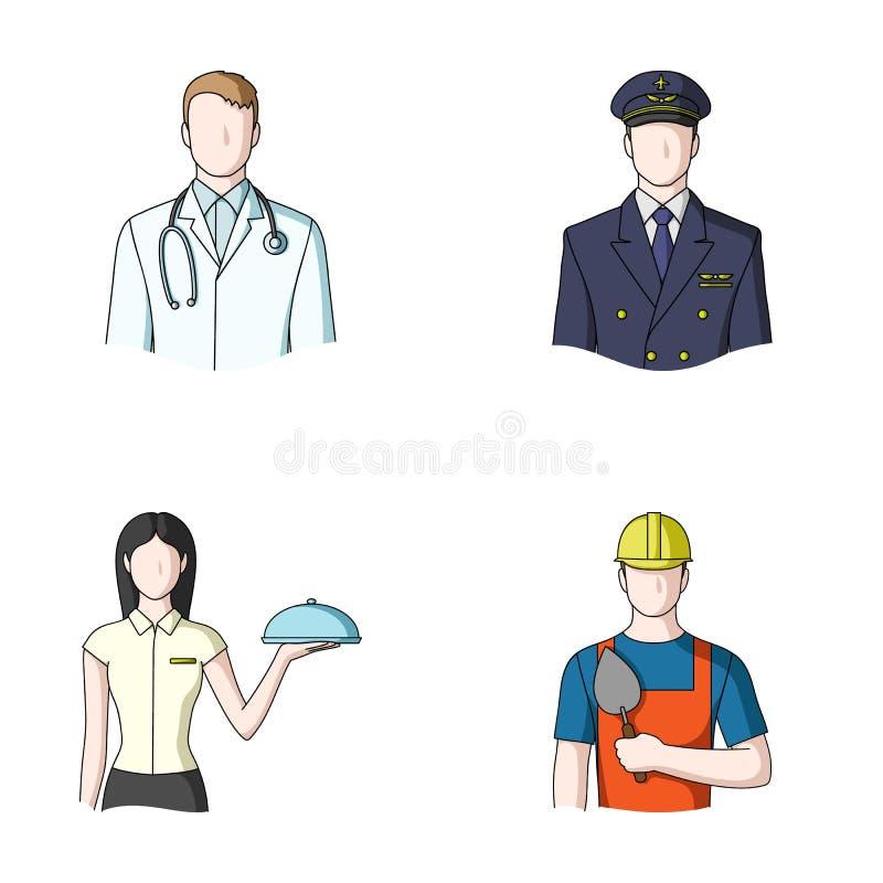 Doktorn, piloten, servitrins, byggmästaren, muraren Utformar fastställda samlingssymboler för yrke i tecknad film vektorn vektor illustrationer