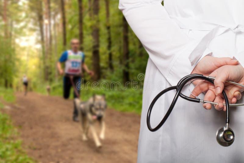 Doktorn satte hans händer med stetoskopet bak hans baksida på ett b arkivfoton