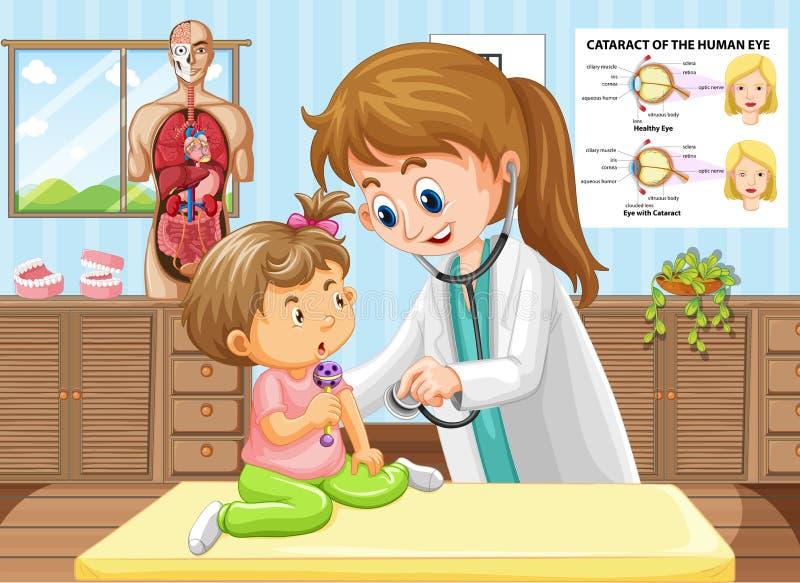 Doktorn som gör den vård- kontrollen för, behandla som ett barn royaltyfri illustrationer