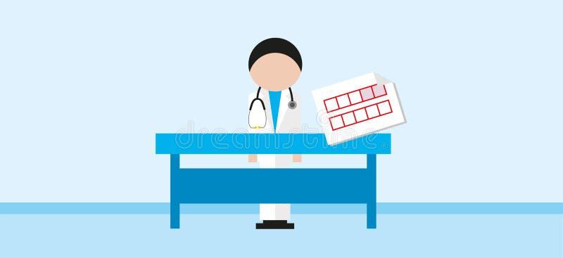 Doktorn står framför ett skrivbord stock illustrationer