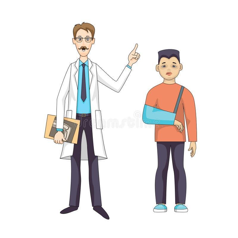 Doktorn står med röntgenstrålen Den unga ledsna pojken förbinder in händer royaltyfri illustrationer