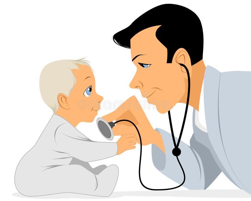 Doktorn undersöker behandla som ett barn vektor illustrationer
