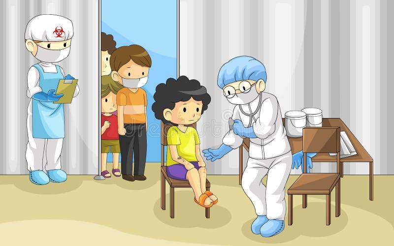 Doktorn undersöker grupp människor med ebolaen dis stock illustrationer