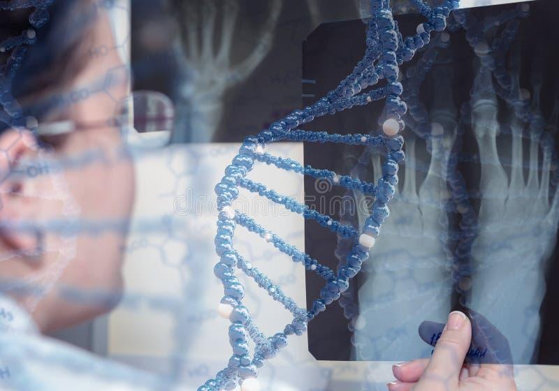Doktorn undersöker röntgenstrålen beståndsdelar för illustration 3D i collage arkivfoton