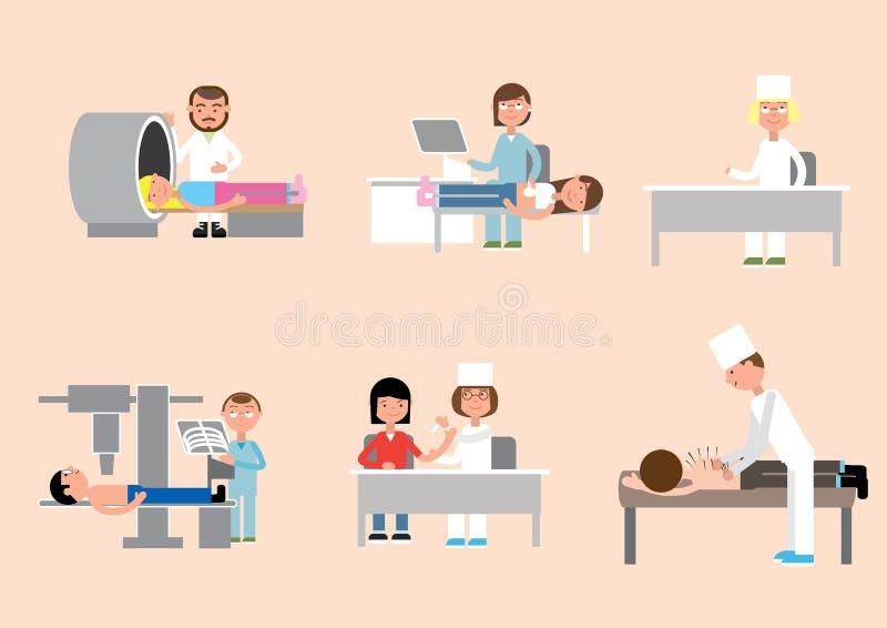 Doktors- och patientbehandling stock illustrationer